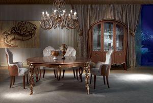 TA52 Vanity table, Table classique en bois sculpté, teinté noyer, feuille d'or