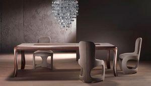 TA54 Botero, Table en bois massif, haut incrusté de thème géométrique
