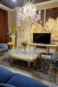 Table basse 4973 de style Louis XVI, Table basse avec plateau en marbre