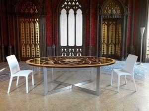 Table Michelangelo, Table ovale classique, avec plateau en bois et base en métal