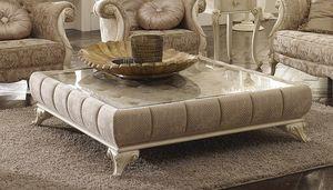 Tea table basse, Table basse rembourrée avec plateau en verre