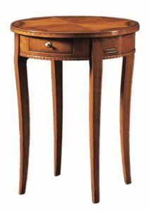 Tiziano FA.0139, Petite table ronde avec un tiroir, fait main
