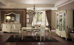 Tiziano Table, Table rectangulaire, jambes finement travaillées, de l'ivoire, des salles de style classique élégant