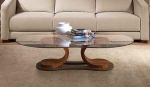 TL57 Mistral petite table, Table pour la salle du centre, en noyer, avec plateau en verre