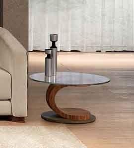 TL58 Mistral petite table, Table basse ovale en noyer, verre et acier, incrusté
