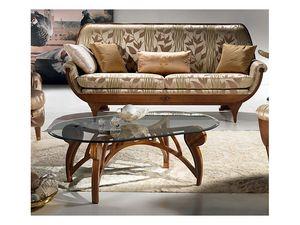 TL24 Le Spirali petite table, Table basse, plateau ovale de cristal, pour le salon