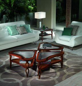 TL38 TL39 Quadrifoglio petite table, Tables en bois incrustés pour Villas de luxe classiques