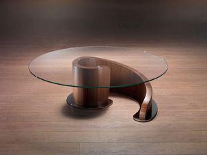 TL41 Minerva, Table basse en contreplaqué, plateau en verre