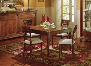 Voltaire table carrée, Table carrée extensible, classique, avec tiroir