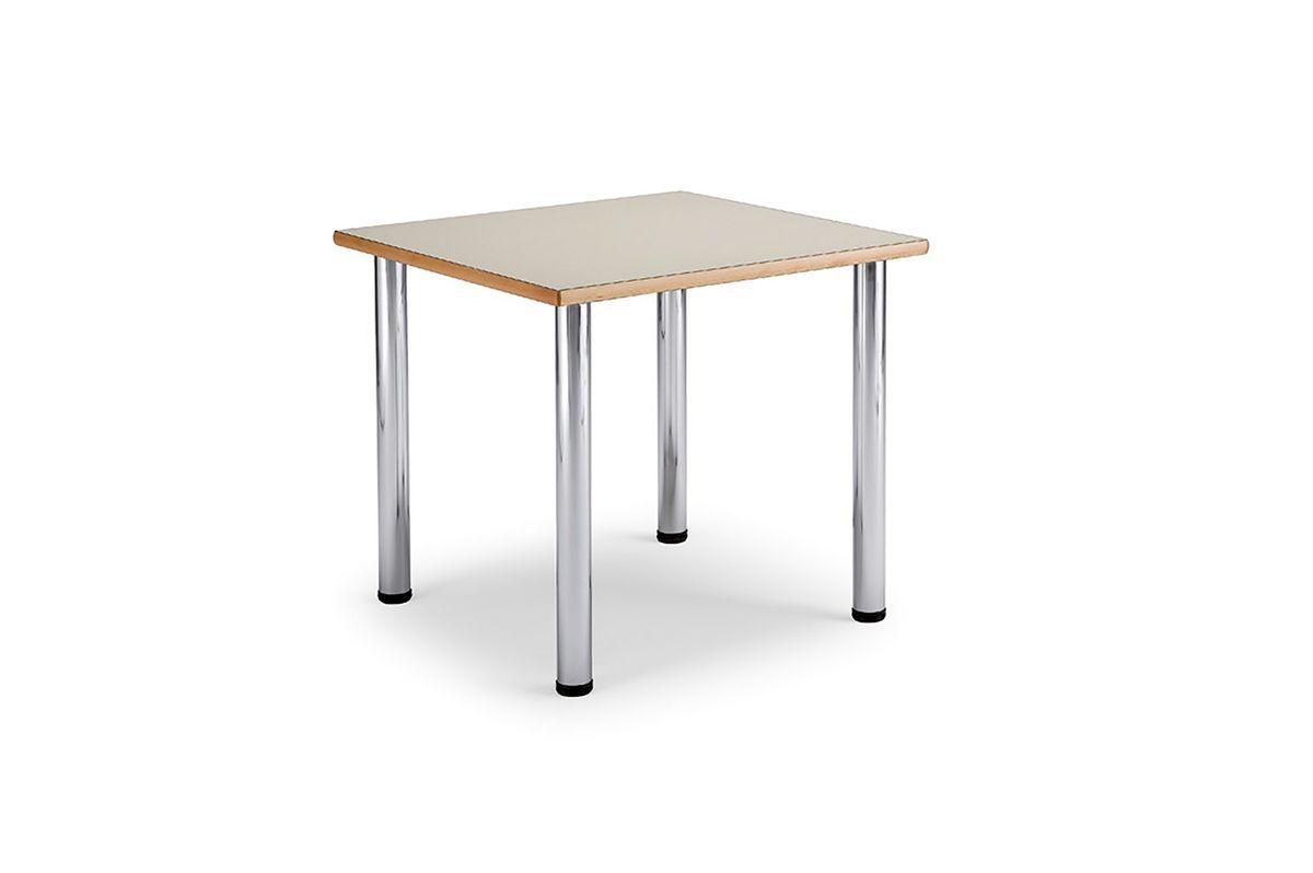 Arno 3 1622, Table carrée avec des jambes en acier chromé