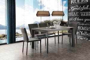 Art. 630 Ceramique, Table télescopique extensible en métal et céramique