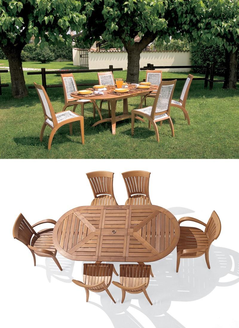Extension de table ovale en bois pour le jardin | IDFdesign