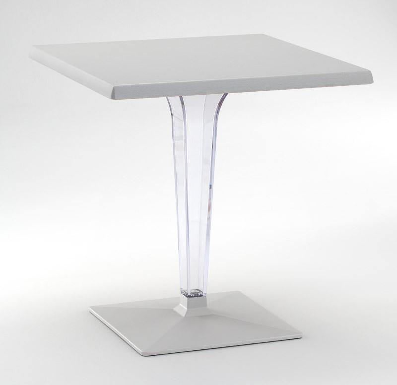 FT 718, Table avec base et top en aluminium, colonne de polycarbonate