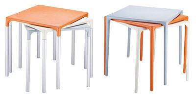 Mango, Table carrée en plastique pour les jardins