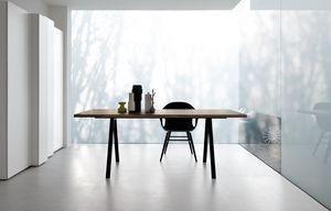 Neat, Table design avec pieds en aluminium, robuste et mince