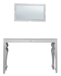 TA01, Table hêtre avec dessus plaqué, miroir en bois