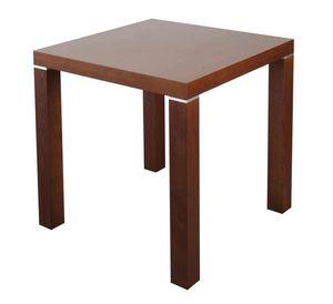 TA09, Table carrée en bois avec inserts métalliques