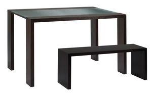 TA10, Table avec plateau en verre et banc de bois