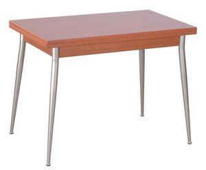 TV10, Table pliante avec des jambes de fer, top en mélamine