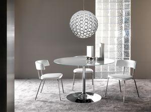Art. 641/2 Armony, Table ronde avec dessus clair et base ronde en métal