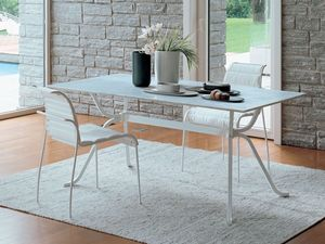 Domino, Table rectangulaire de verre idéal pour la cuisine élégante