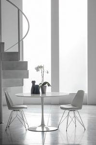 FLUTE TP116, Table en métal avec plateau en bois adapté pour les cuisines modernes