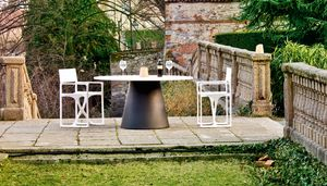 Loulou 70 large, Table d'extérieur avec plateau rond, également en bois