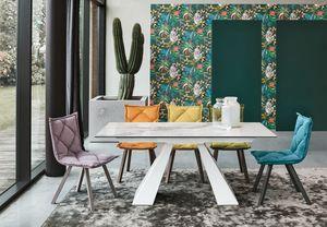 TAURUS TP1A2, Table à manger avec plateau en grès de Carrare