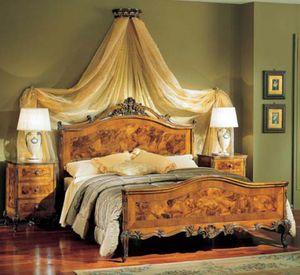 3265 NIGHT TABLE, Chevet en bois avec 3 tiroirs, style classique de luxe