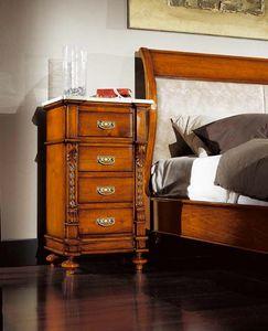80-19 table de chevet, Table de chevet classique, avec 4 tiroirs