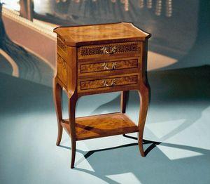 Art. 108/N Greca, Table de chevet classique avec 3 tiroirs