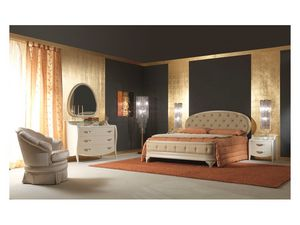 Art. 2010 Bedside Table, De chevet en bois laqué crème, pour les chambres classiques
