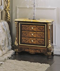 ART. 3036, Table de chevet classique avec dessus en marbre jaune