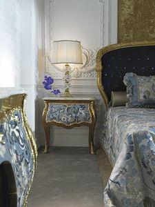 Table de chevet 3691, Table de chevet classique avec plateau en onyx