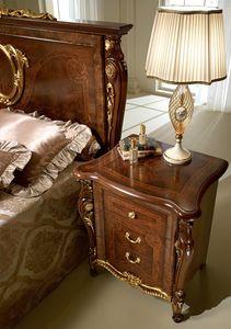 Donatello table de nuit, Prestige table de chevet classique, en bois sculpté, pour chambre