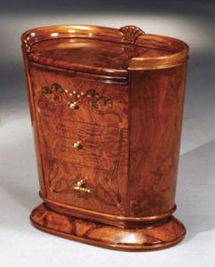 Flory table de chevet, Table de chevet avec plateau amovible, des décorations de feuilles d'or