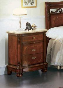 Gardenia table de chevet, Table de chevet avec façade incurvée, dans un style luxueux classique