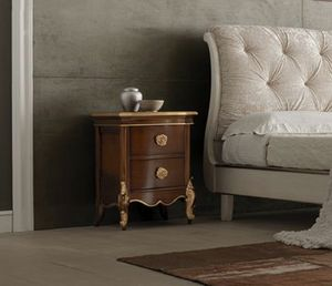 Liò table de nuit en noyer, Table de chevet en bois, avec des détails dorés