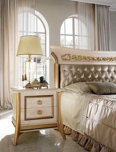 Melodia table de nuit, Table de nuit 2 tiroirs, pour des chambres classiques