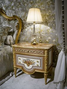 Table de chevet 3704 de style Louis XVI, Table de chevet classique de luxe