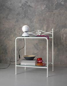 Albatros Bedside Table, Table de chevet en métal avec des étagères en verre, décoration florale