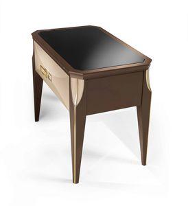 ART. 3352, Table de chevet avec plateau en verre fumé