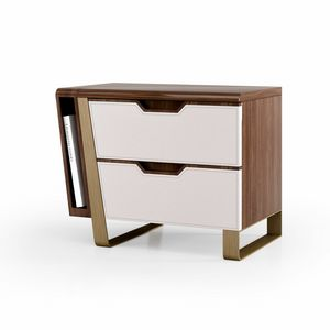 ART. 3444, Table de nuit avec tiroirs en cuir