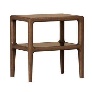Bellagio 1301/F, Table de chevet en bois avec étagères en verre