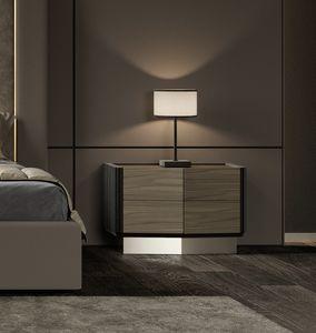 Beverly table de chevet, Table de chevet en bois et métal, style contemporain