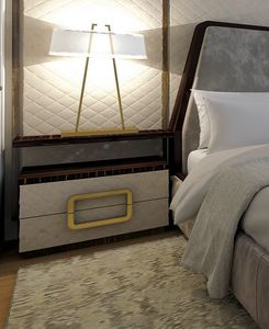 Burton, Table de chevet avec tiroirs en cuir