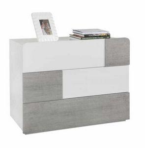 Cabinet de chevet blanc brillant 3 tiroirs à effet concret Design moderne, Table de chevet moderne pour chambre