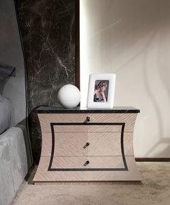 CD30 Cartesio table de nuit, Table de chevet en bois avec dessus en marbre