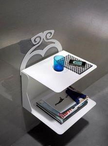 Charme table de chevet, Table de chevet avec 2 étagères en métal peint, suspendu