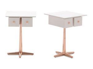 City table de chevet, Table de chevet en bois de placage avec un pied en métal